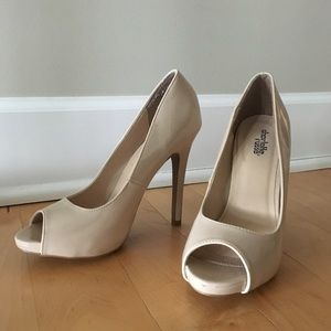 Nude Faux Patent Leather Pumps